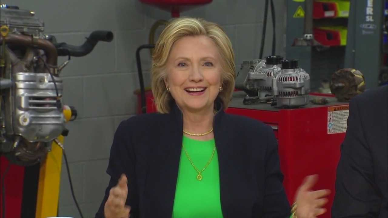Presidential hopeful Hillary Clinton made several short stops in Davenport and LeClare Tuesday before holding a round-table discussion with students and teachers at a community college in Monticello.