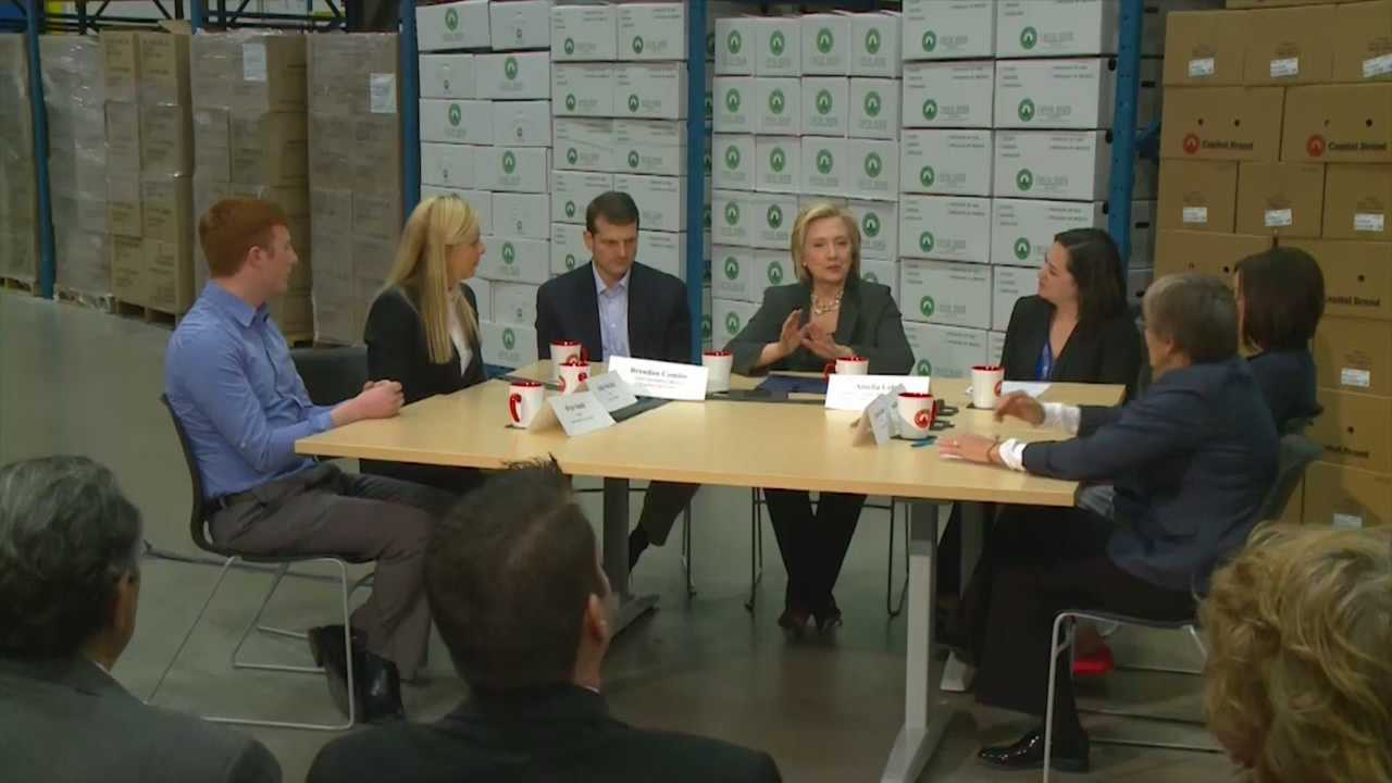 Presidential candidate Hillary Clinton talked with Iowa small business owners Wednesday.