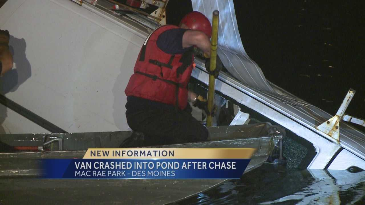 Rescue crews were called to Mac Rae Park Tuesday at about 10 p.m. for a police chase that ended in a water rescue.