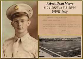 Robert Moore from Gravity, Iowa. He lost his life in Italy at the age of 20. The cemetery is where he was interred in Italy until they could bring the soldiers home. He was brought back home to his final resting place in 1948.
