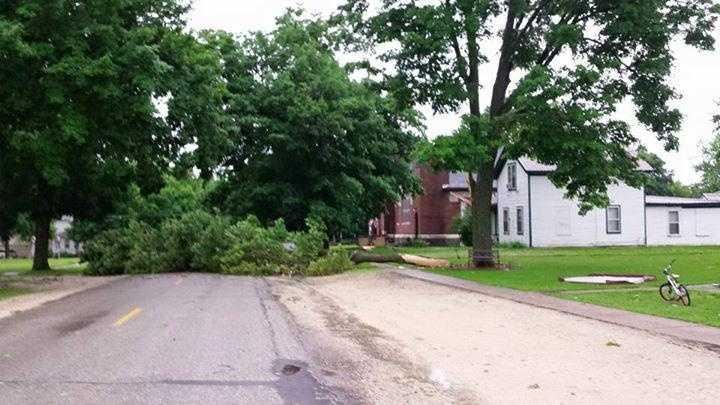 Storm damage in Nashua, Iowa.