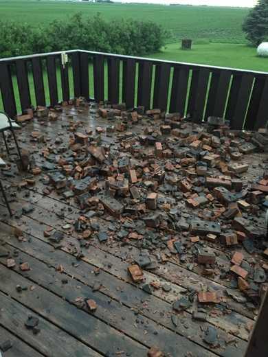 Whittemore Iowa chimney hit by lightning