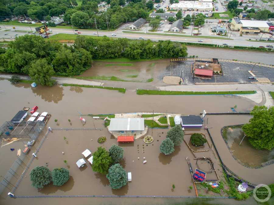 Aerial view of flooding at Grand Avenue near 63rd in Des Moines.