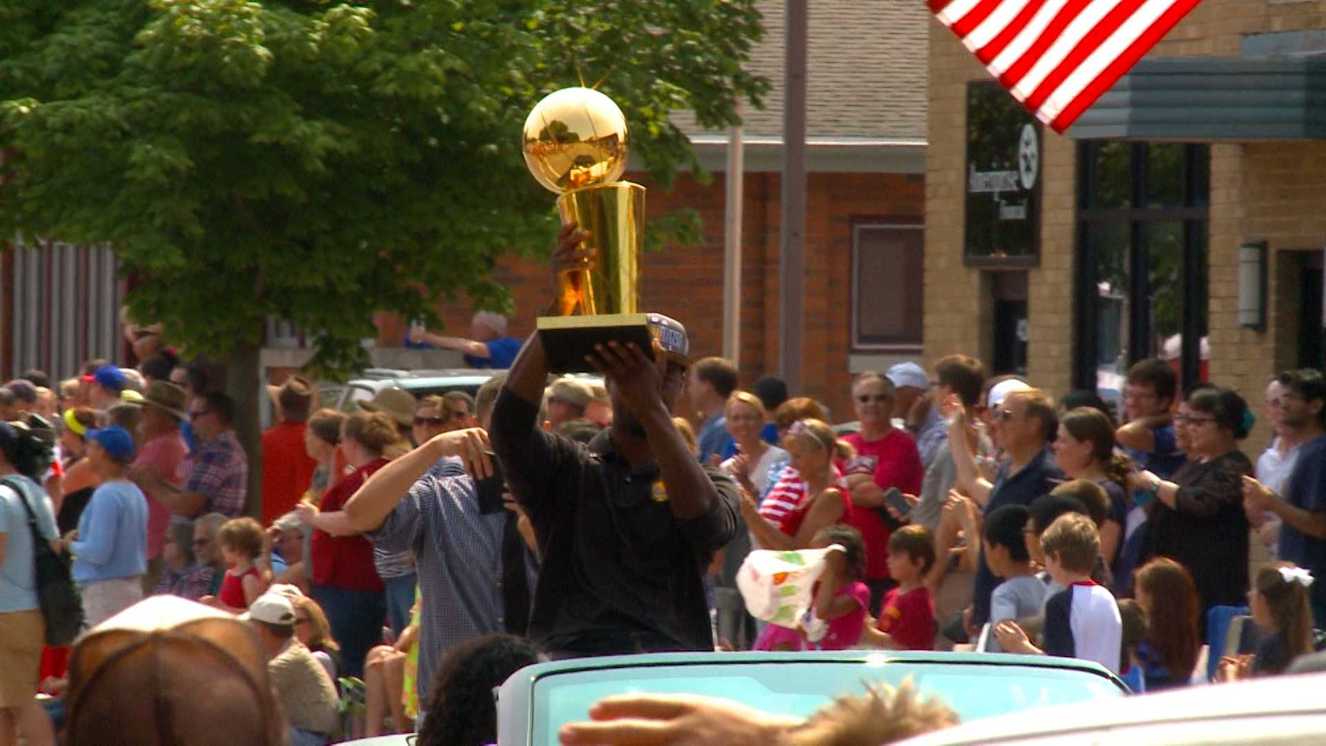 Harrison Barnes returned to Ames with his new trophy in hand.