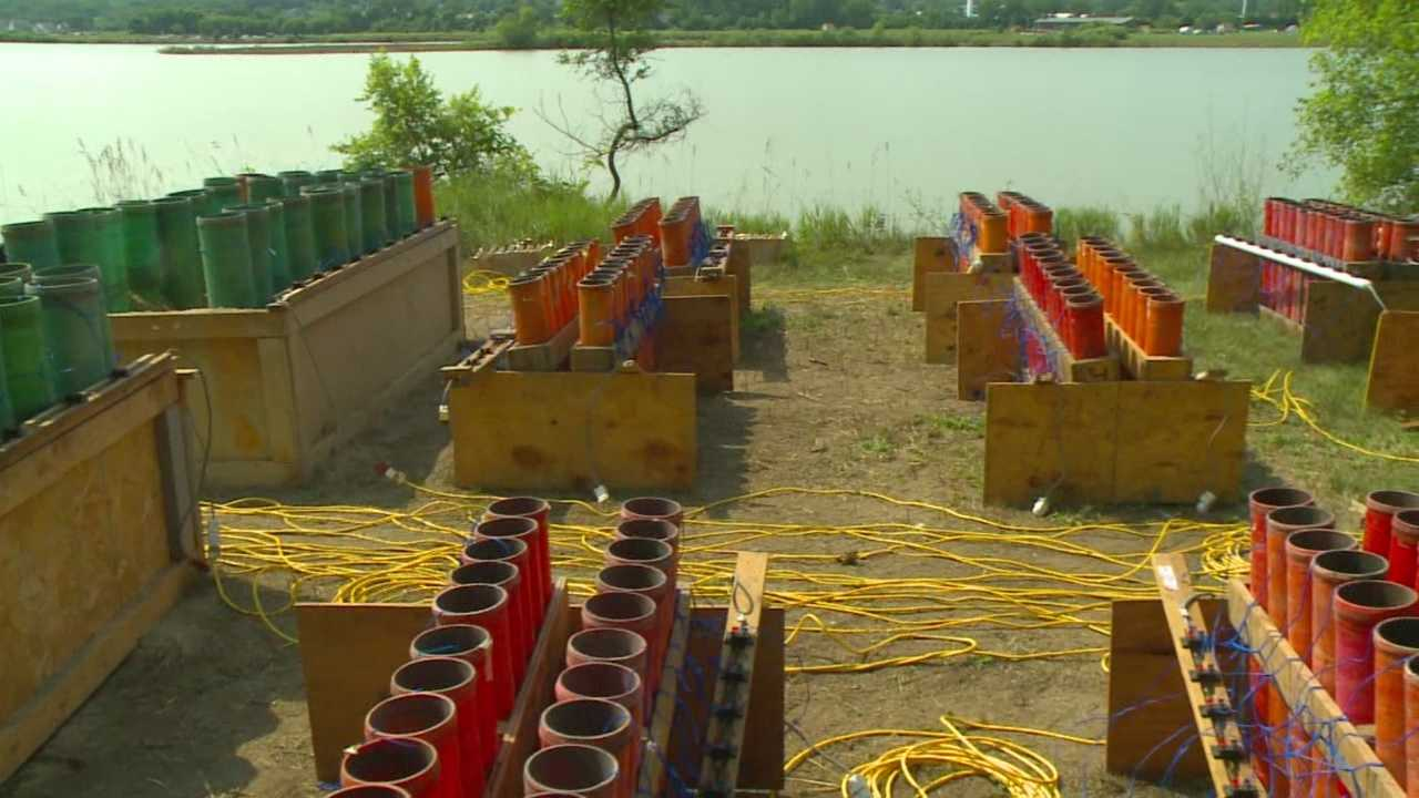 West Des Moines firefighters specially trained in pyrotechnics set up the city's Fourth of July fireworks show each year.