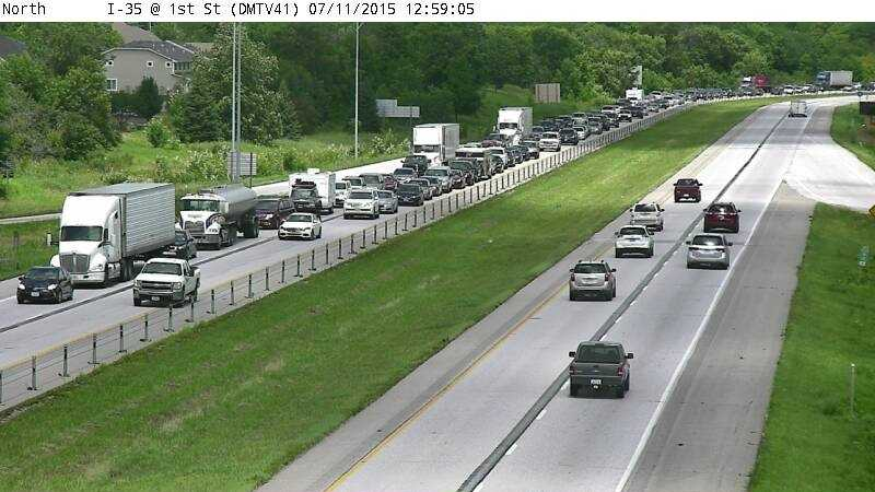 I-35 southbound traffic backed up in Ankeny around 1 p.m. Saturday.