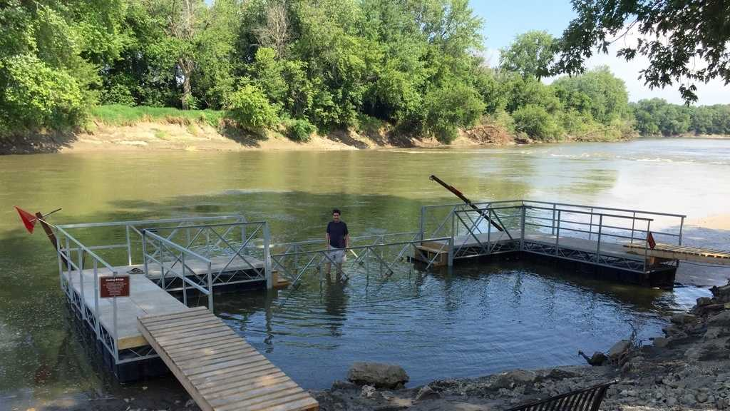 New Wading Bridge temporarily at Water Works Park in Des Moines