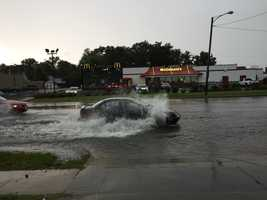 Flash flooding at Merle Hay and Douglas near Merle Hay Mall.