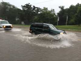 Flooding at Grand Avenue and 45th in Des Moines.