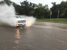 Flash flooding at Grand Avenue and 45th Street in Des Moines.