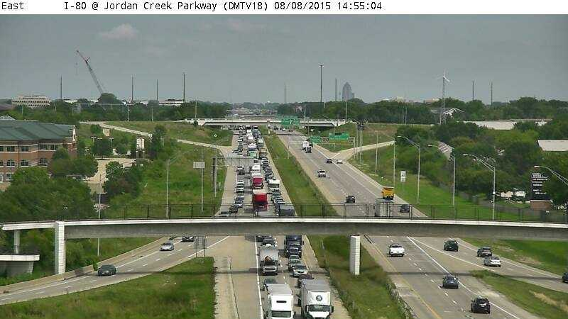 Traffic on I-80 WB near Jordan Creek Parkway about 2:55 p.m. Saturday.