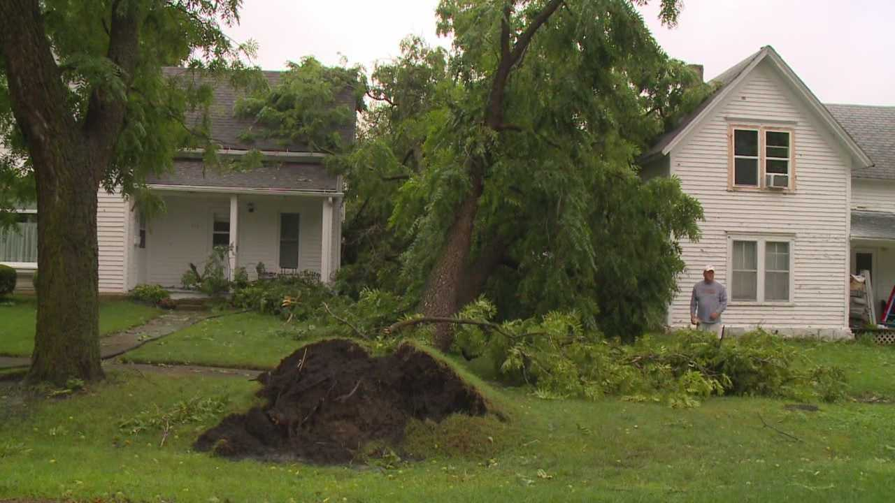 Crews are cleaning up storm damage in Radcliffe after thunderstorms rolled through the area Sunday night.