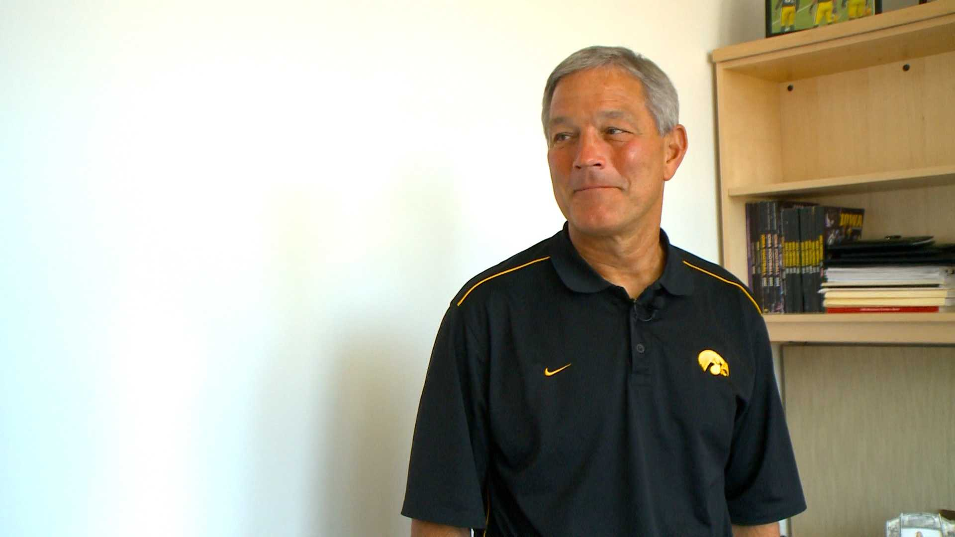 Kirk Ferentz pauses in his new office in Iowa City