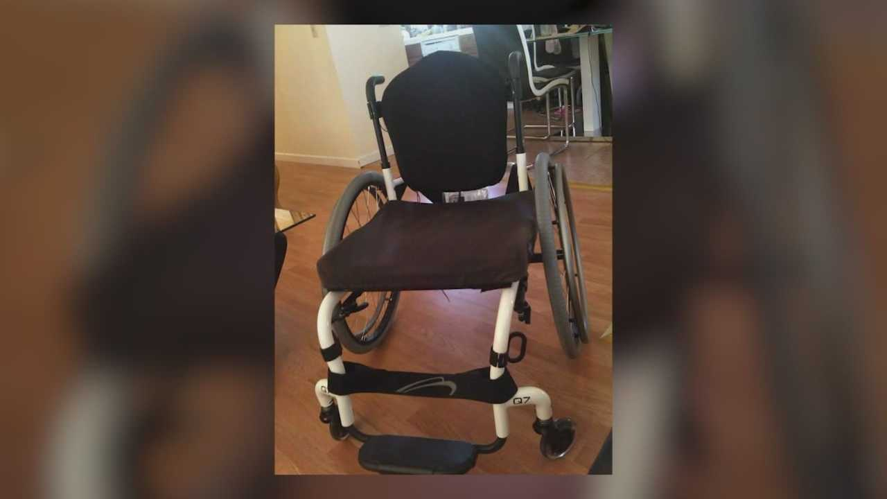 Brandy Ray's wheelchair was stolen after it fell off a truck.