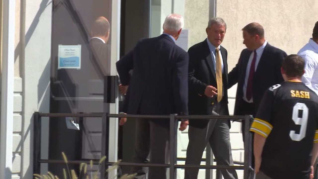 Iowa head football coach Kirk Ferentz departs after Tyler Sash's visitation Thursday afternoon.