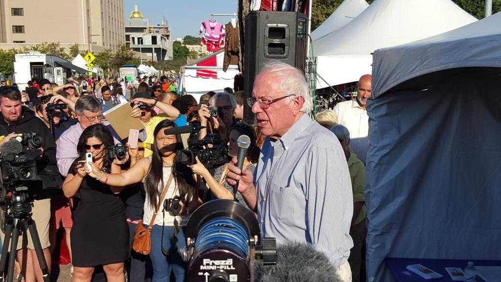 Democrat presidential candidate Bernie Sanders talked about immigration reform at the Latino Heritage Festival on Saturday.
