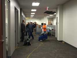 Flooding inside brand new Polk County courts building.