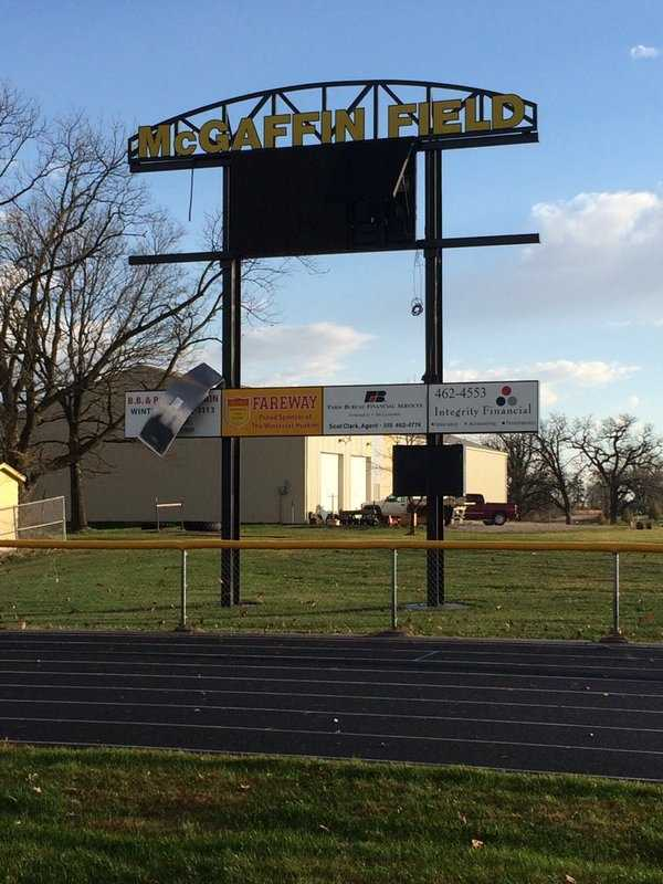 Damage to the Winterset High School stadium reported.