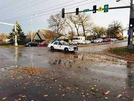 Powerlines down in Des Moines along Fleur Drive