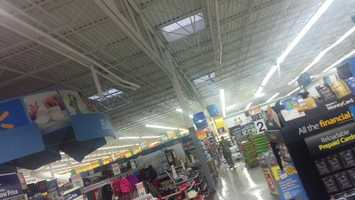 Damage to Walmart roof in Knoxville