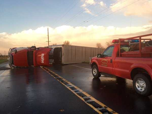 Semi blown over south of Knoxville on Highway 14.