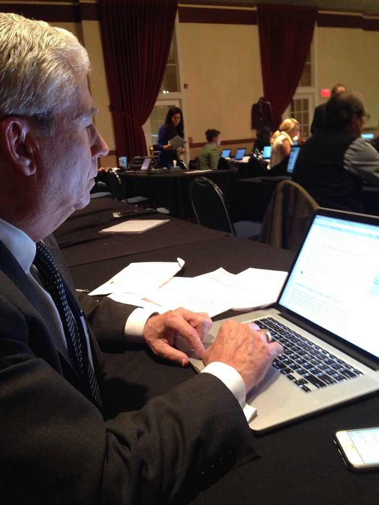 KCCI's Kevin Cooney prepares before the debate.