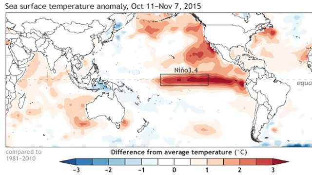NOAA El Nino for Oct. 11 to Nov. 7