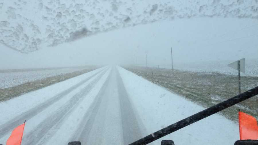 Snow plow camera near Spirit Lake at 11 a.m.