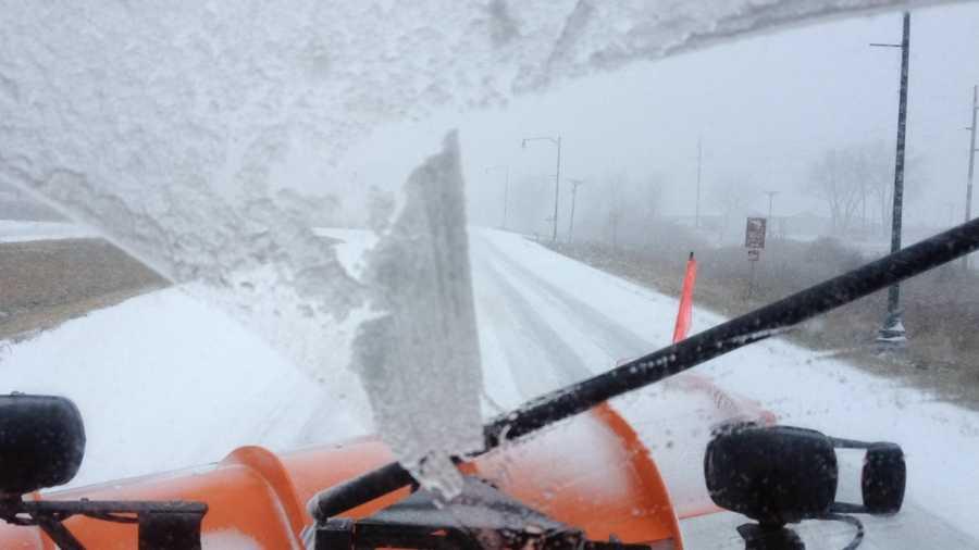 Snow plow camera 11:30 a.m. near Spirit Lake