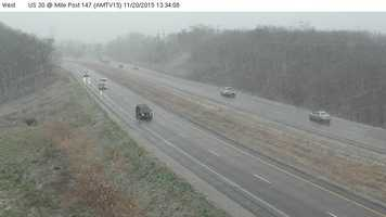 1:30 p.m. snow reaches Ames along Highway 30