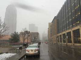 Snow in downtown Des Moines at 3:30 p.m.