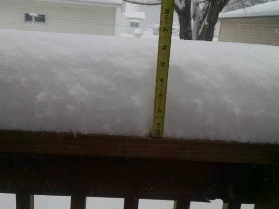 Snowfall amount at 4:30 p.m. from Dale Johnson in Burt, Iowa.