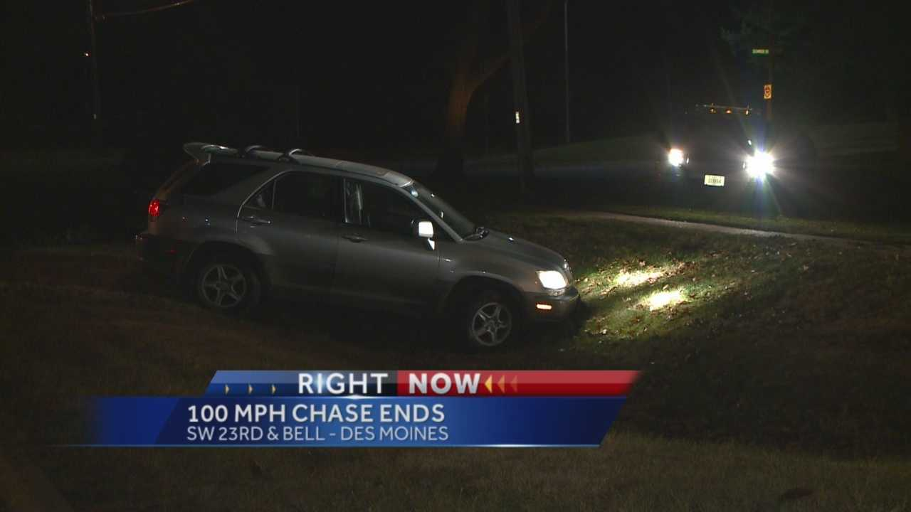 Des Moines police are searching for the driver of a Lexus SUV that led them on a high-speed chase overnight.