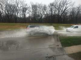 Flooding in Clive along Swanson Blvd.