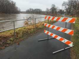 Raccoon River flooding at Gray's Lake Park in Des Moines