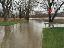 Gray's Lake Park flooding along the Raccoon River in Des Moines