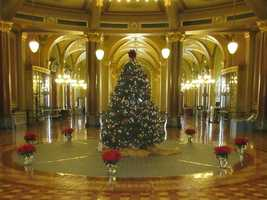 Christmas tree at the State Capitol in Des Moines Iowa
