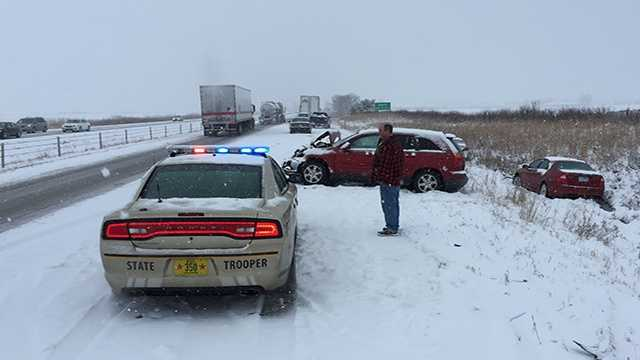 Multi-vehicle crash along I-35 near Ames.