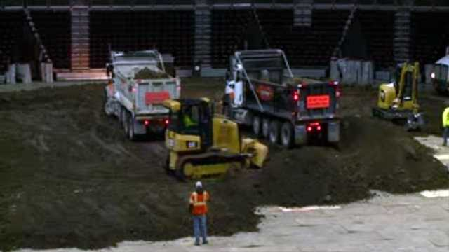 Preparing for Monster Jam at Wells Fargo Arena