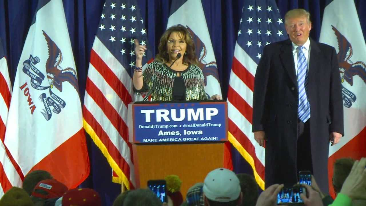 Sarah Palin endorsed Donald Trump for president Tuesday in Ames.