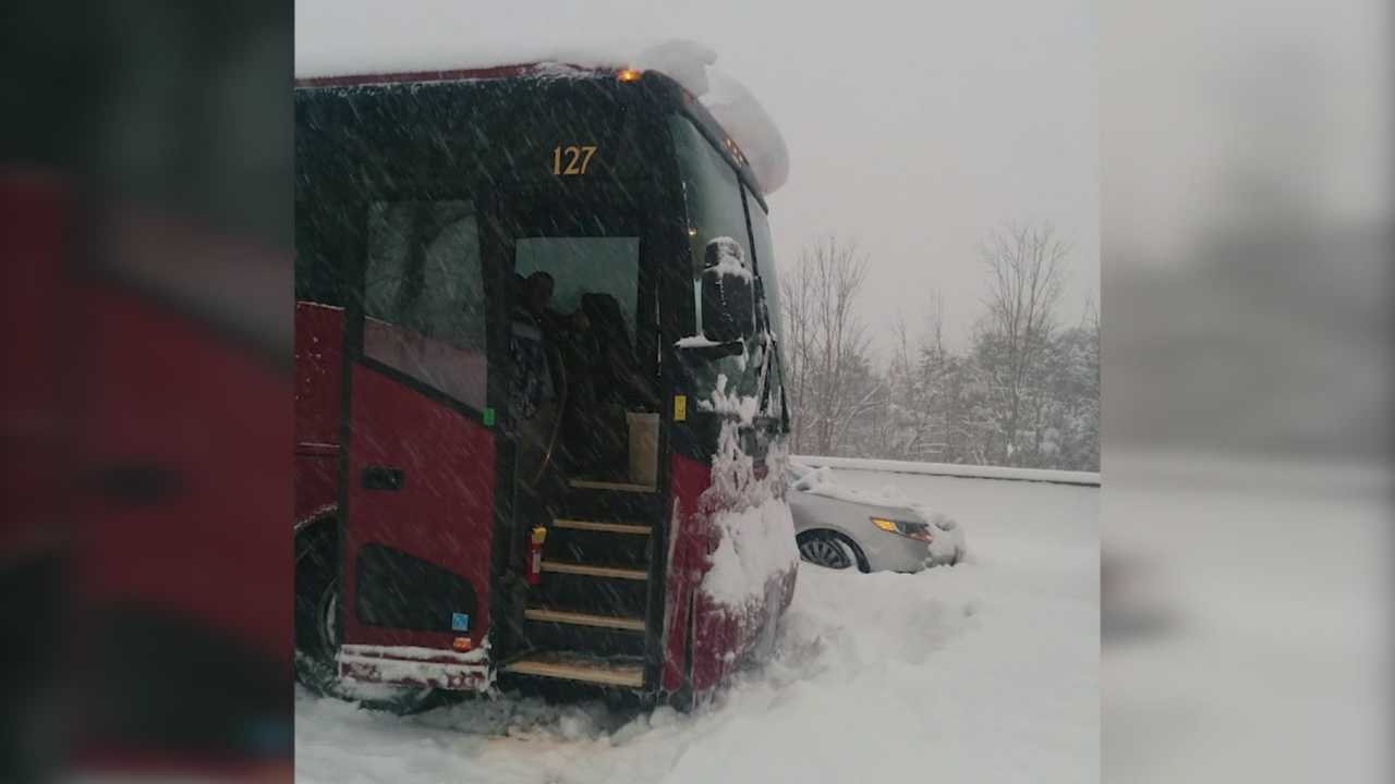 The students, teachers and chaperons were stuck for nearly 24 hours.