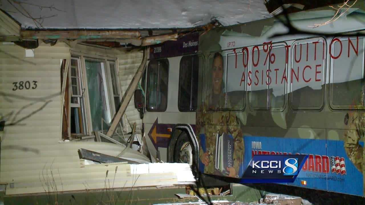 A Des Moines woman said dirty dishes saved her life when a bus slammed into her home.
