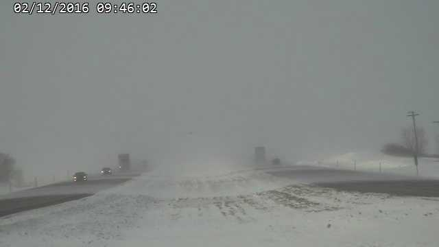 Blowing snow on Interstate 35 near Clear Lake