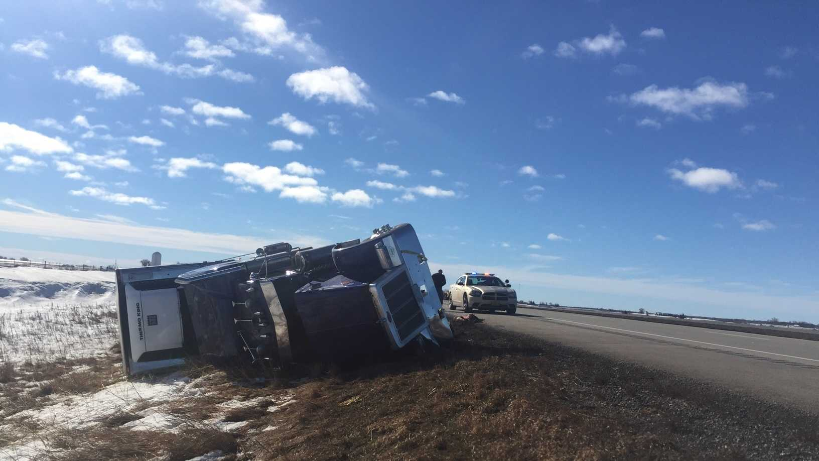 Semi rollover crash caused by high winds near Ellsworth, Iowa.