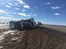 Semi rollover crash caused by high winds near Ellsworth, Iowa.