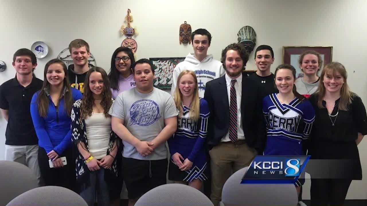 "Student leaders from Dallas Center-Grimes Schools met with students from Perry Thursday to discuss ""Trump"" chants made during a Monday night basketball game."