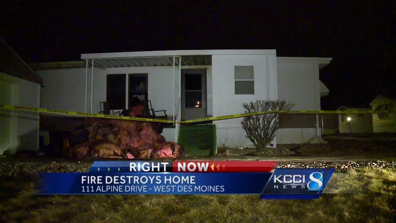 Firefighters said a fire destroyed a mobile home in West Des Moines overnight.