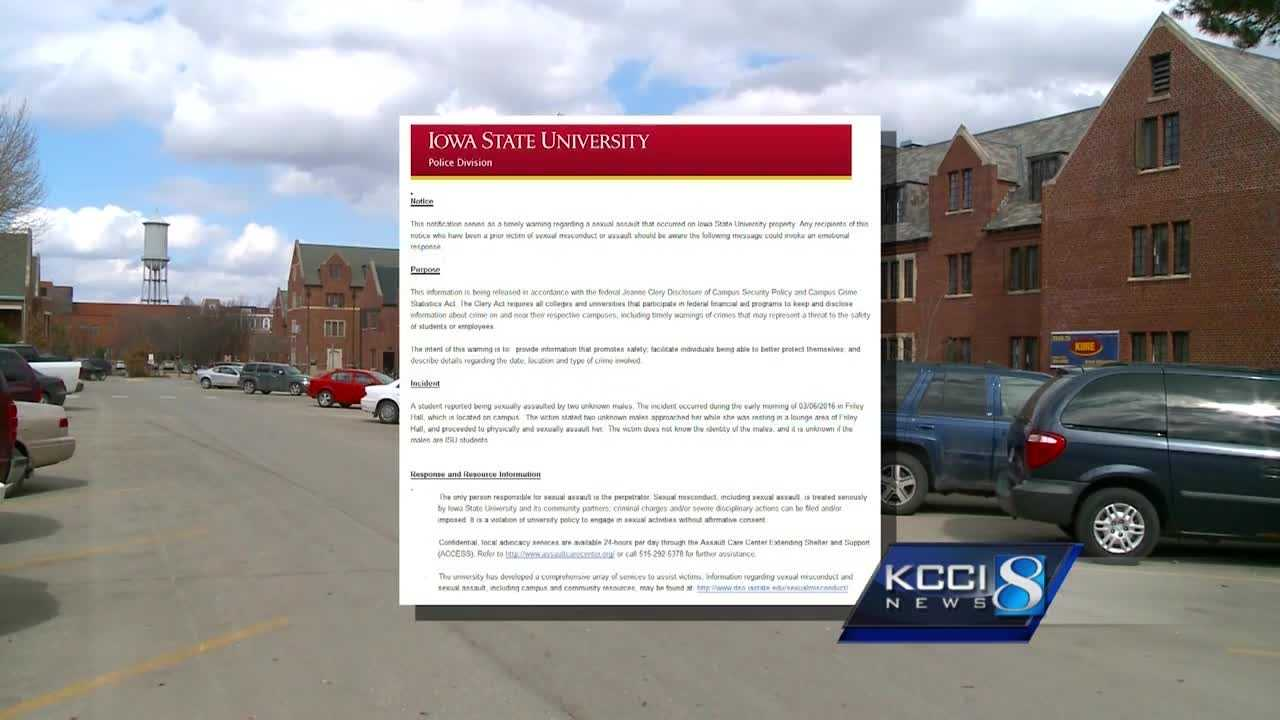 Students at Iowa State University are unhappy about how they were informed of a sexual assault on campus.
