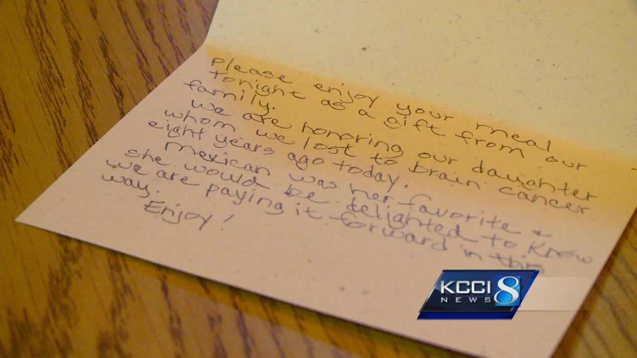 An Ames family got a free meal and a life lesson after a stranger paid for their meal.