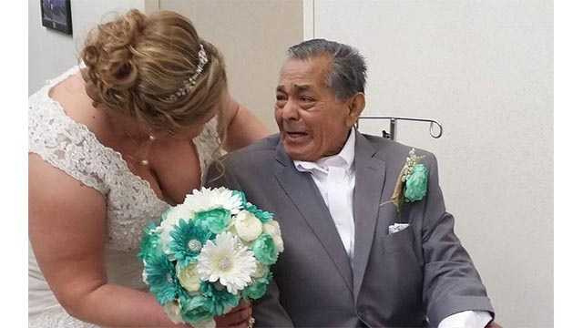 """""""Here's a picture that shows how much being able to walk me down the isle meant to my grandpa,"""" saidTiffany Medearis."""